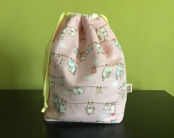 "Handmade Drawstring bag / pouch for knitting accessories 8.75"" x 5"" x 3.5""  *Laundry Cats*"
