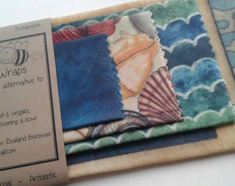 Beeswax Cottage Wraps 'Ocean Shells ' - the eco-friendly alternative to plastic cling wrap