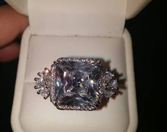 SALE AAA White Sapphire Cocktail Ring, Platinum over Silver, Free Shipping.