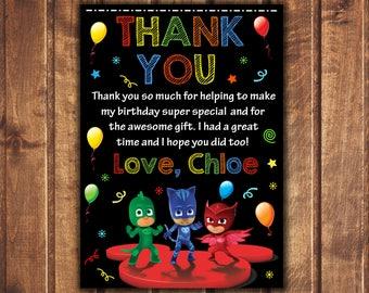 PJ Masks thank you card, PJ Masks Birthday thank you card, PJ Masks Birthday, pj Masks Party, pj masks, Personalized pj Masks thank you card