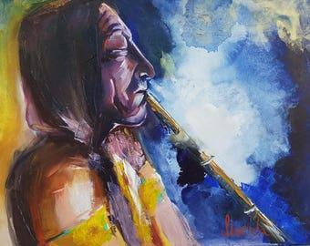 Original oil painting American Indian
