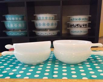 4 Glasbake Bowls with Lug Handle