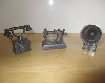 Vintage Miniatures - 3 Metal Miniatures, Made in Spain, Telephone, Sewing Machine, Gramaphone, Dollhouse Miniatures