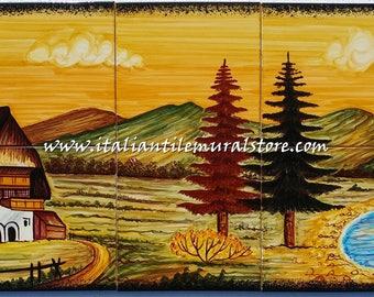 Beautiful Tuscan tile mural for backsplash kitchen. Decorative tile backsplash ideas. Ceramic Wall murals. Decorative tile for the home