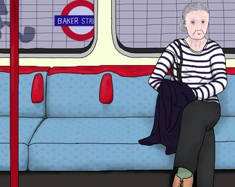 Postcard: Drawing of a woman sitting alone on the London Underground / metro / the Tube (A6 size artwork)