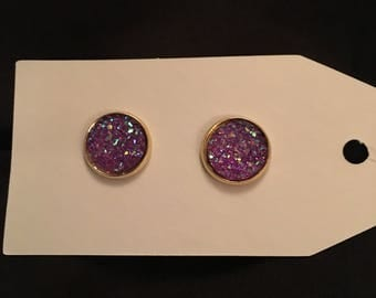 Katie 12mm Sparkly Purple Flat Druzy Gold Setting