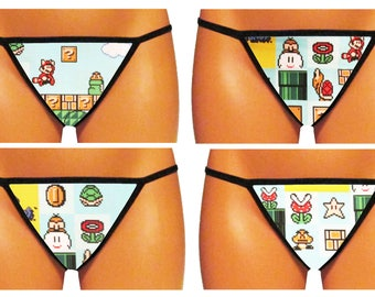 Super Mario Bros 3 (You Pick!) Thong/G-String (Made From 100% Cotton Licensed Fabric)