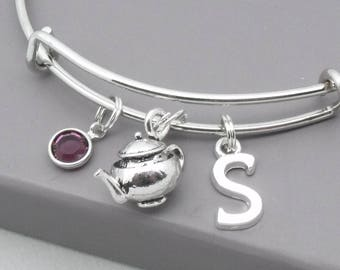 3D Teapot charm bracelet with mongoram initial | teapot bangle | teapot jewellery | personalised teapot gift