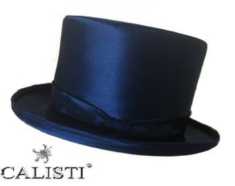 Hat cylinder cap Satin satin blue top hat zylinder Made in Italy 14 Cm. Groom Tight Tail coat