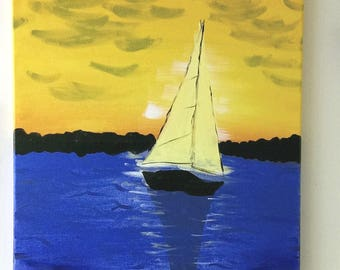 "Acrylic Painting ""Sunset Sailing"" 16""x20"" colorful art paint on canvas seaside harbor sunset sailboat boat unframed"