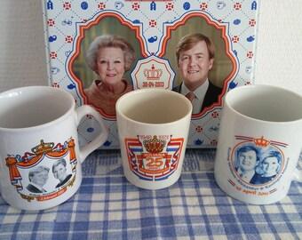 Dutch Royal Family Souvenir 3 Mugs