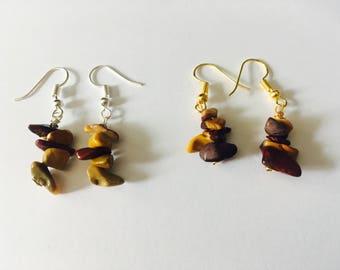 Mookaite crystal earrings, mookaite earrings, drop earrings, gold earrings, silver earrings, fish hook earrings, gifts for her,Mookaite bead