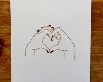 Hand Heart Stitched Art