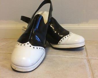 1960's Life Stride Black Oxford, Slingbacks, Saddle Shoes