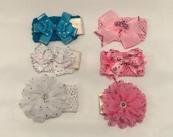 Custom Rhinestoned Bows and Headbands