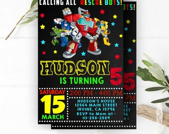 INSTANT DOWNLOAD - Rescue Bots Birthday, Rescue Bots Invitation, Rescue Bots Party, Rescue Bots Party Invitation, Resque Bots Invite