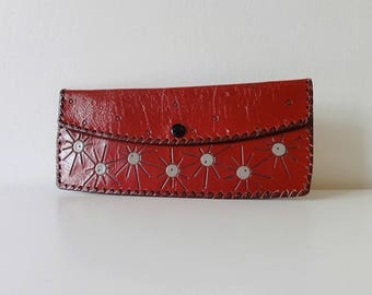Ruby Red / Patent Leather Wallet / Atomic Print / Oversized Wallet / Women's wallet / Boho / Gift for Her / Patent leather / Vintage Wallet