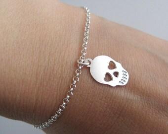 Skull 925/1000 silver skull charm bracelet