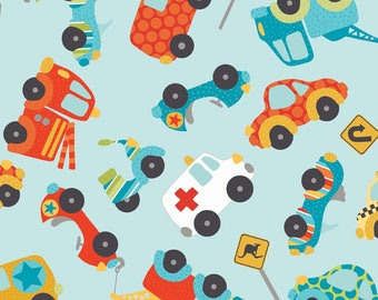 FREE GIFT with Purchase - Peak Hour Cars/ Cotton Duck / Blue / Riley Blake / Fabrics / Sewing /Upholstery/ Home Decor
