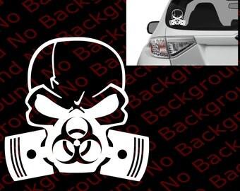 Bio Hazard Skull Mask (Outline Only Forehead) Punisher Vinyl Die Cut No Background Decal Sticker Walking Dead Zombie Response Team FY002