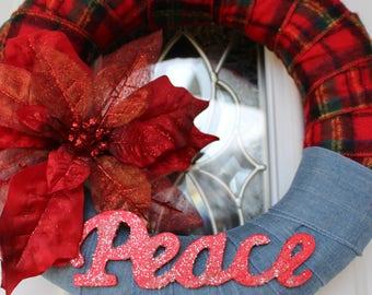 Country Plaid Peace Wreath