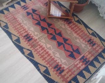 Turkish Rug Oushak Rug Vintage Rug, Geometric pattern rug,105x160cm,office decor Pastel colors,Office Decor,