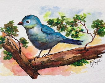 Blue Bird on Branch/Watercolor and ink/Bird watercolor/Bird art/Home decor/bird painting/5 x 7 watercolor
