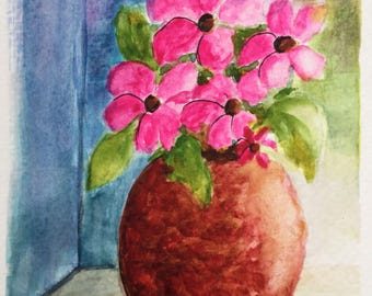Flowers in vase card/Watercolor Greeting Card/Flowers watercolor/5 x 7 greeting card/Pink flowers/Card and envelope/Floral greeting card