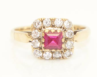 Vintage 9ct Gold Square Pink Sapphire & White Paste Stones Dress Ring, Size L