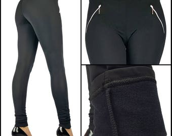 Winter Thermal Fleece Full Length Leggings With Pockets