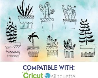 Plants SVG - 8 Hand drawn house plants - Cacti SVG - Pot Plants SVG Files - Plant Doodle Clipart - Files for Cricut & Silhouette -
