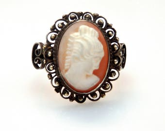 Sterling Silver Cameo Unique Design Ring
