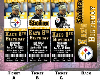 Pittsburgh Steelers Birthday Ticket Invitation