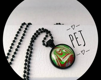 Green/white,paintpour,cabochon,pendant,necklace,giftsforher