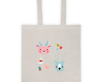 Tote bag, Bag, shopping bag, tote, canvas tote bag, cotton tote bag, Christmas gift bag, Christmas bag, Christmas gift idea - Deer
