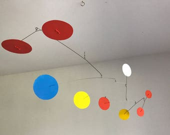 Hand-Painted Alexander Calder Inspired Mid-Century Modern Abstract Kinetic Mobile Sculpture #9