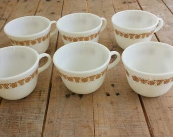 Set of 6 Pyrex Butterfly Gold Teacups