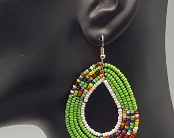 Maasai Beaded Teardrop Earrings