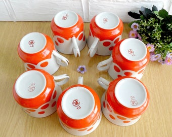 Set of 7 Vintage Red Coffee Mug Сup with polka dot Soviet tea cup set Tableware USSR Retro Red Polka Dot USSR tea cup Tea mugs Tea set gift