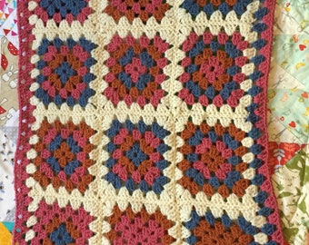 Crochet Baby Blanket, softest wool. 'Woolly Patch ' granny square paychwork