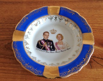 ashtray - porcelain of Limoges - France - Prince Rainier Princess Grace of Monaco - Monte Carlo