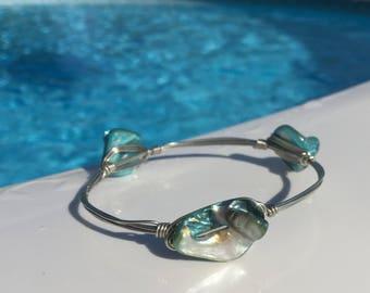 Shell Bead Bangle Bracelet