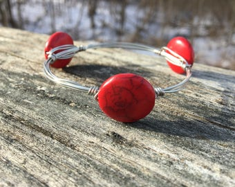Red bangle wired wrapped bracelet