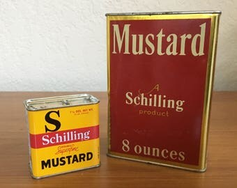 Vintage Schilling Mustard Tins - Set of 2