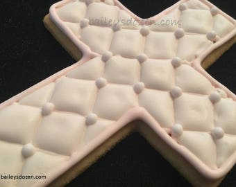 Quilted pattern cross cookies   Baptism cookie favors   Baby girl Christening   Pink Chanel cross