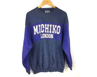 MICHIKO LONDON Michiko Koshino Long Sleeve Sweatshirt Large Size With Big Spell Out Logo
