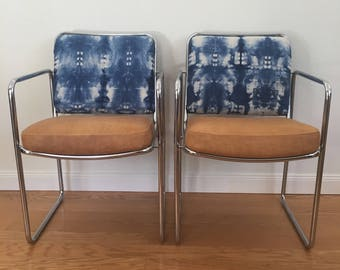 Custom MCM Chairs w/ hand dyed indigo shibori squares and camel leather seats