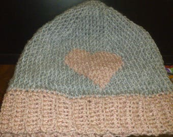 Salmon Pink Glitter and Grey  Heart  Slouchy Beanie  Lovely Present For Mothers Day or Someones Birthday
