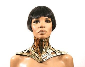 Cage armor gold-bdsm-victorian-cyber-goth-steampunk collar corset