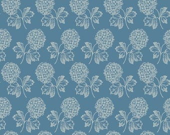 Blue and cream floral pattern fabric